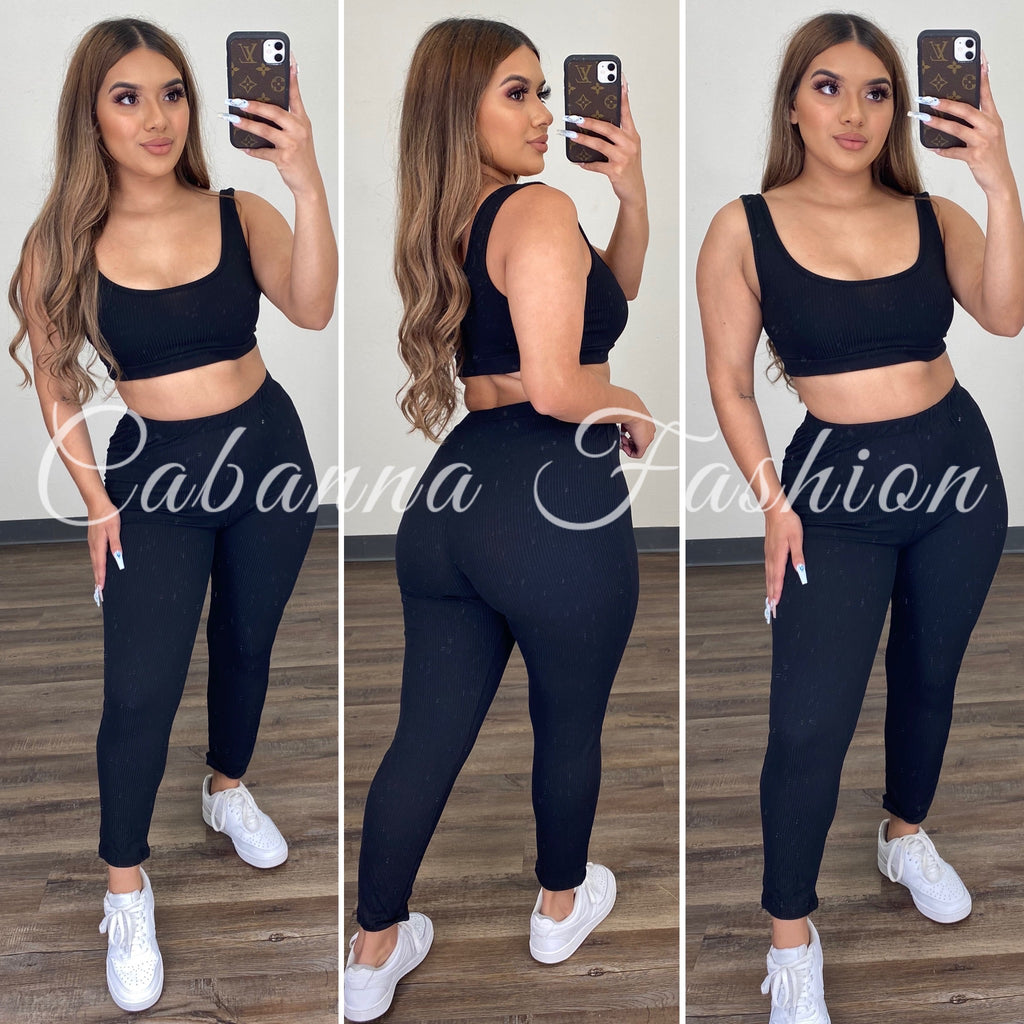 Brielle Pant Set - (BLACK)