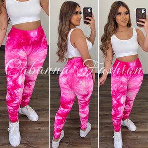LIZABETH TIE DYE LEGGINGS - (FUSCHIA)