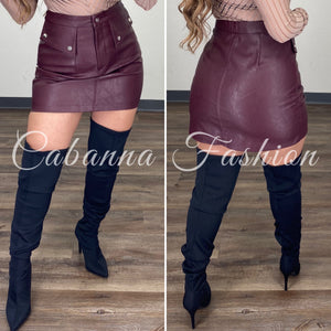 Araxie Faux Leather Skirt - (DEEP WINE)