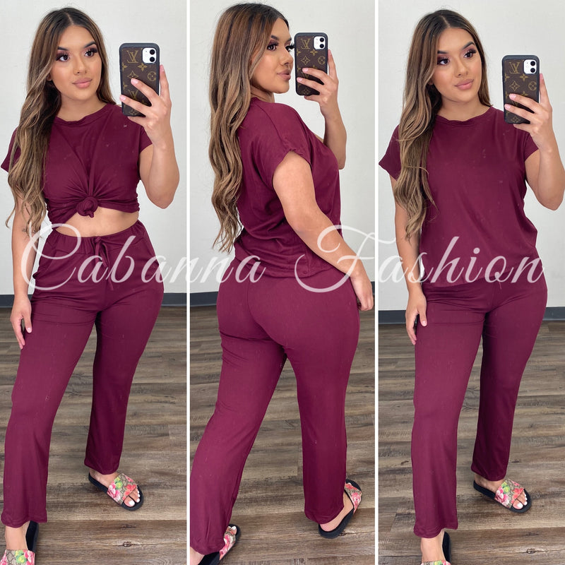 Roxanna Chill Set - (BURGUNDY)