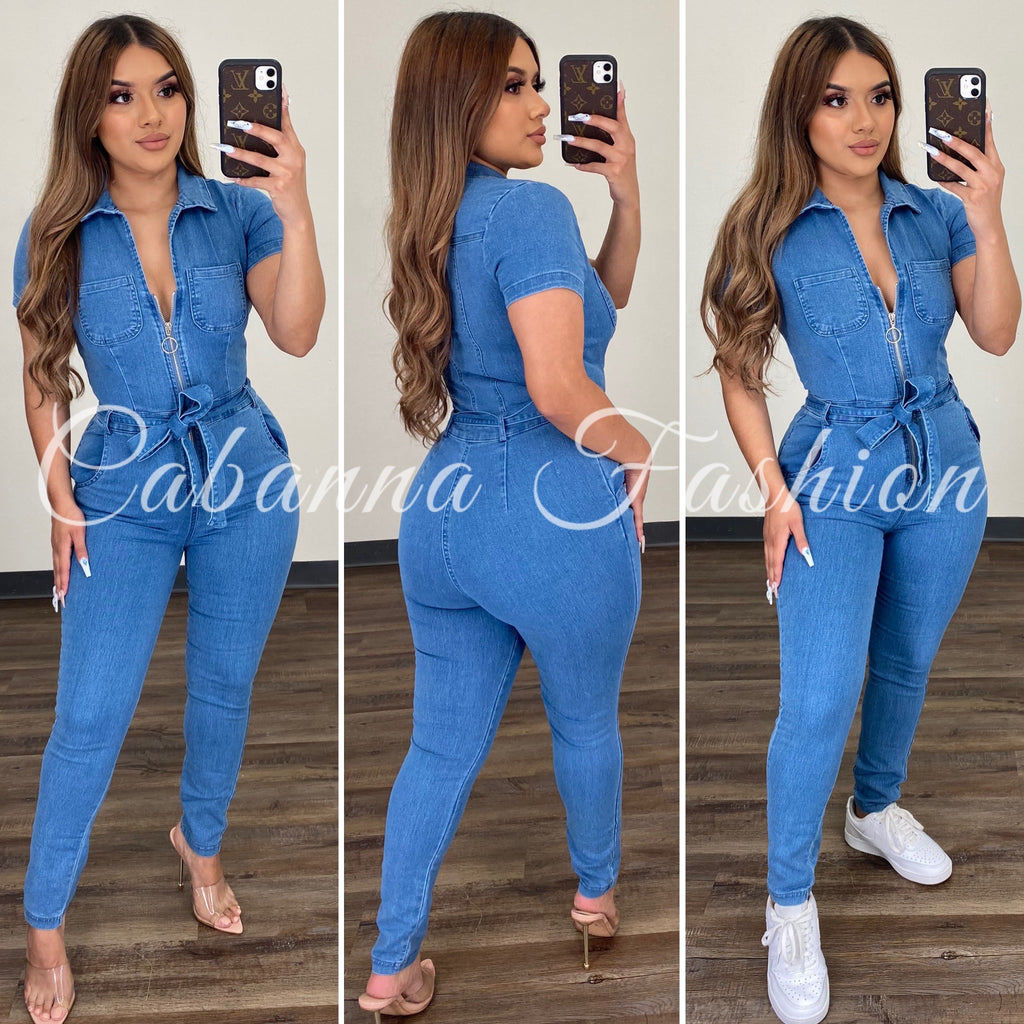 Virgo Season Denim Jumpsuit - (MEDIUM DENIM)