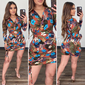 Zahara Tropical Dress - (RUST/FLORAL)