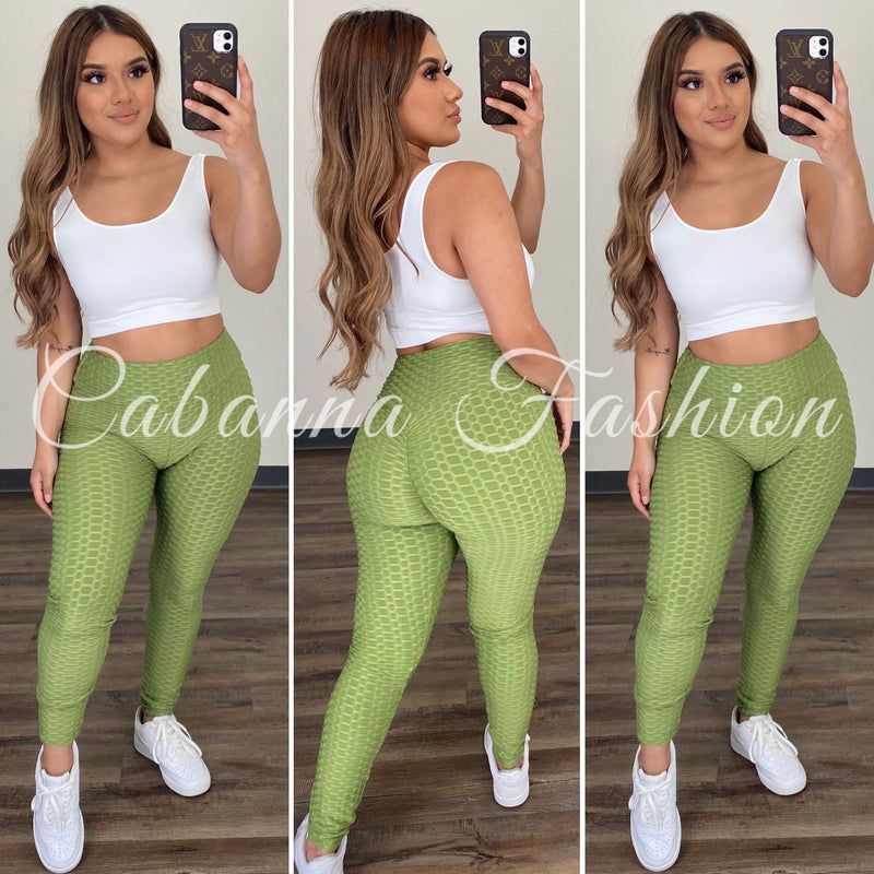 Butt Lifting Leggings - (OLIVE)