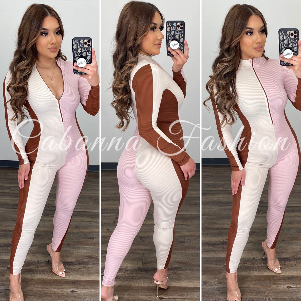 Casual Day Color Block Jumpsuit - (PINK/CAMEL)
