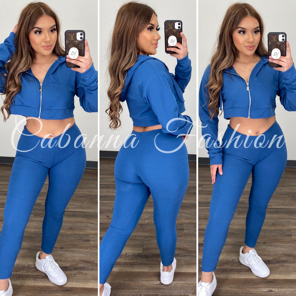 Theresa Pant Set - (BLUE HAZE)