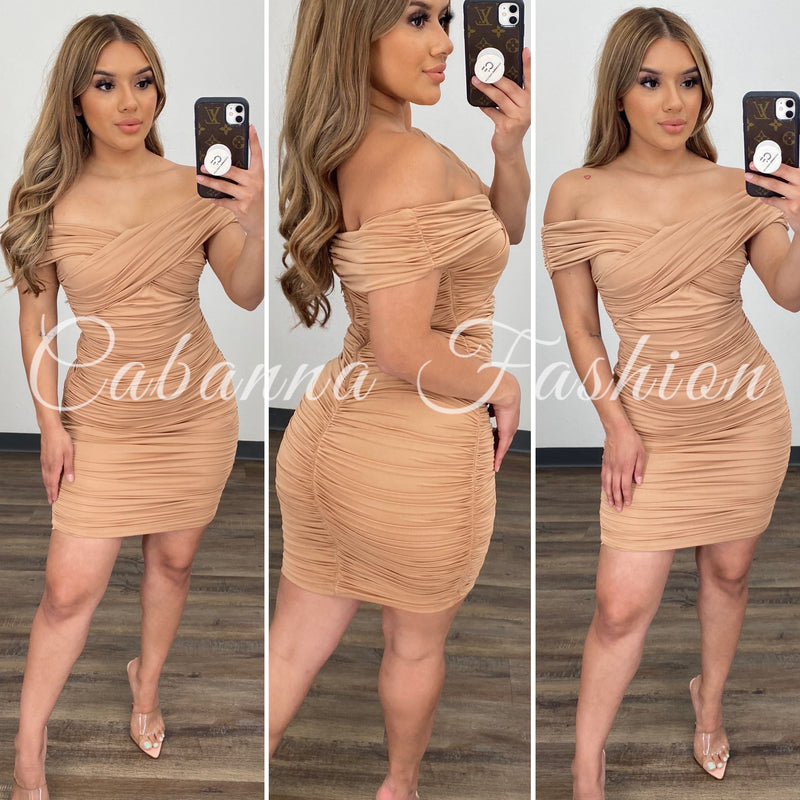 Forever Yours Satin Dress - (TAUPE)