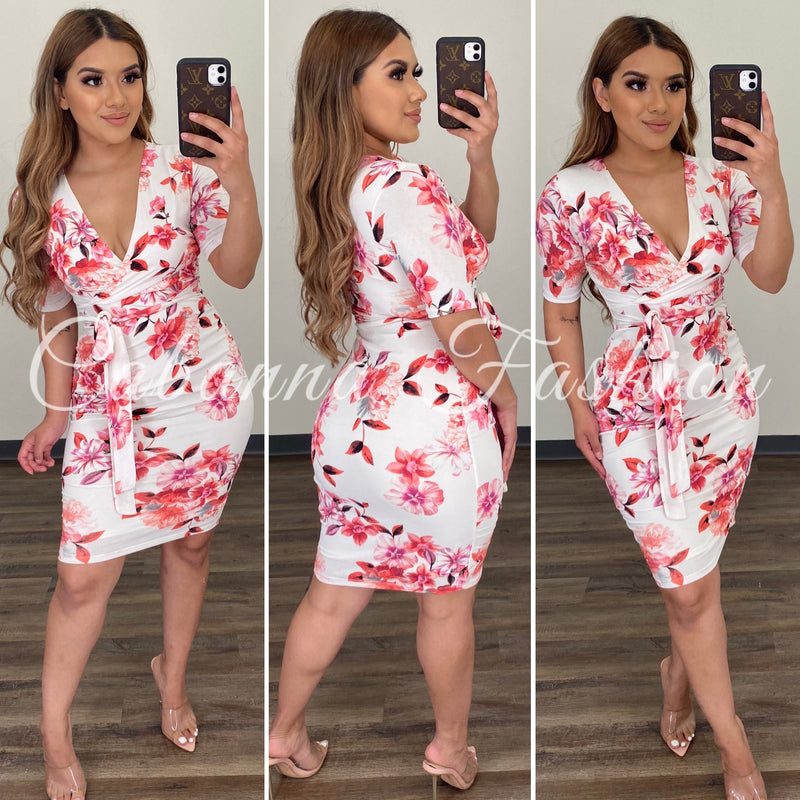 Chelsie Floral Dress - (IVORY)