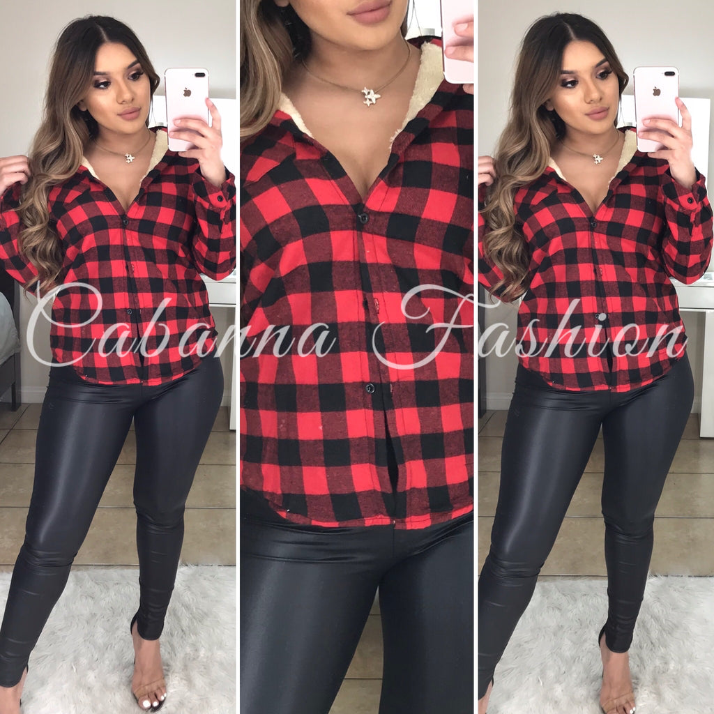 Aura Teddy Flannel - (CHECKERED RED)