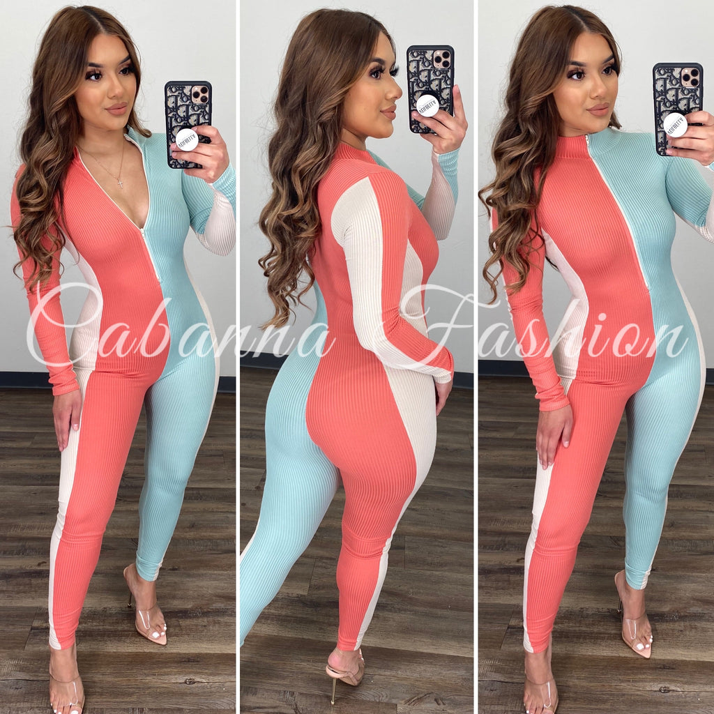 Casual Day Color Block Jumpsuit - (MINT/CORAL)