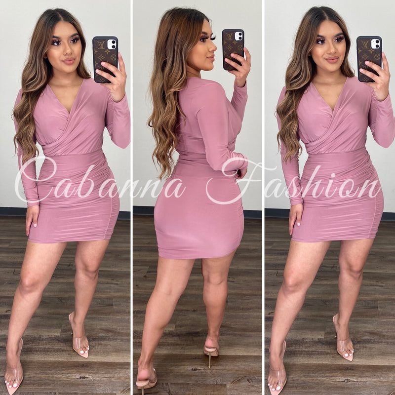 Never Enough Mini Dress - (ASH ROSE)
