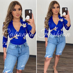 Jaika Floral Bodysuit - (ROYAL BLUE)