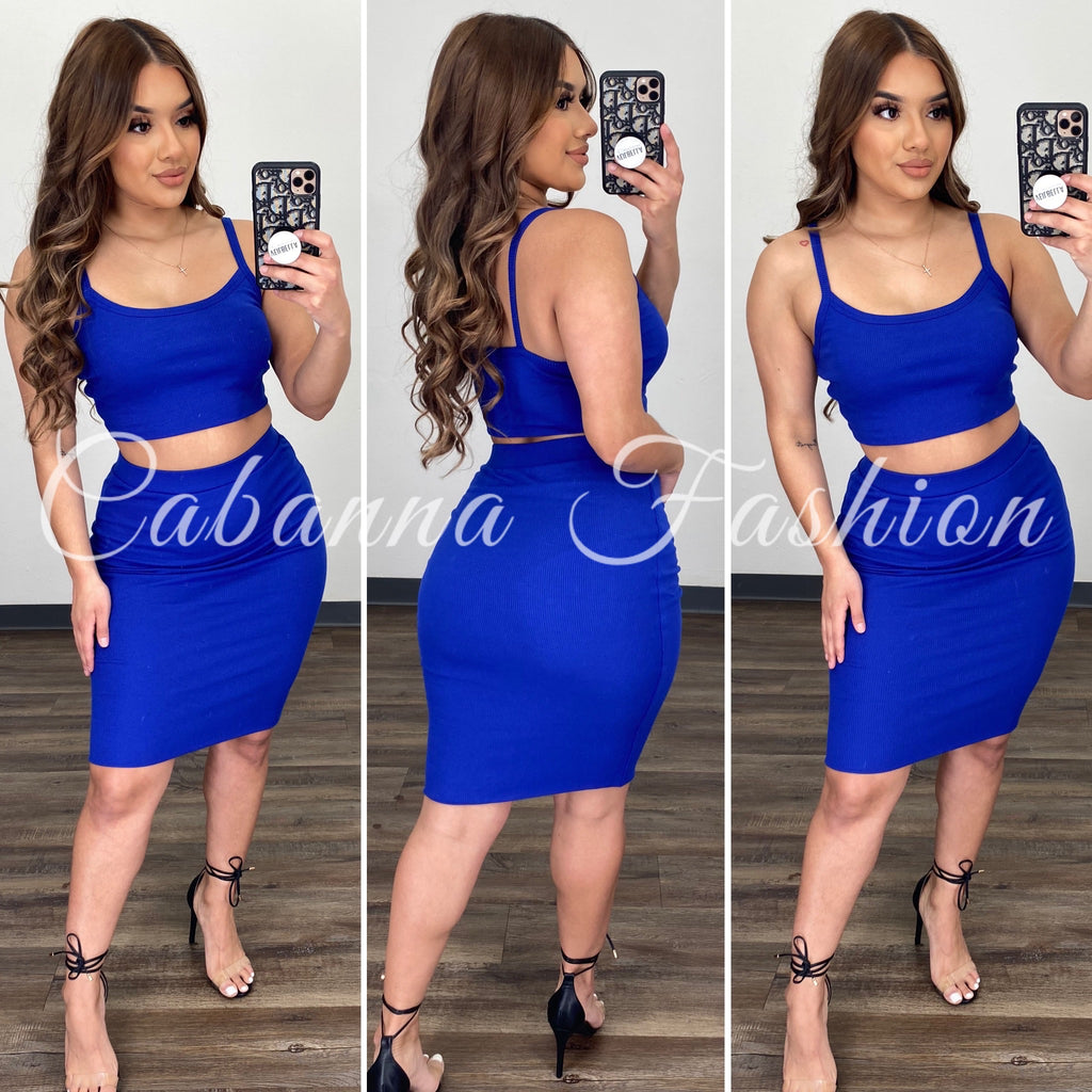 Joana Skirt Set - (ROYAL BLUE)