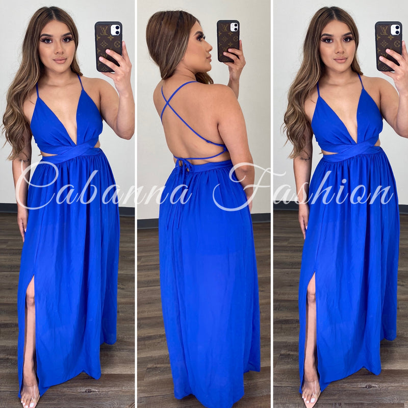 KARIME MAXI DRESS - (ROYAL BLUE)