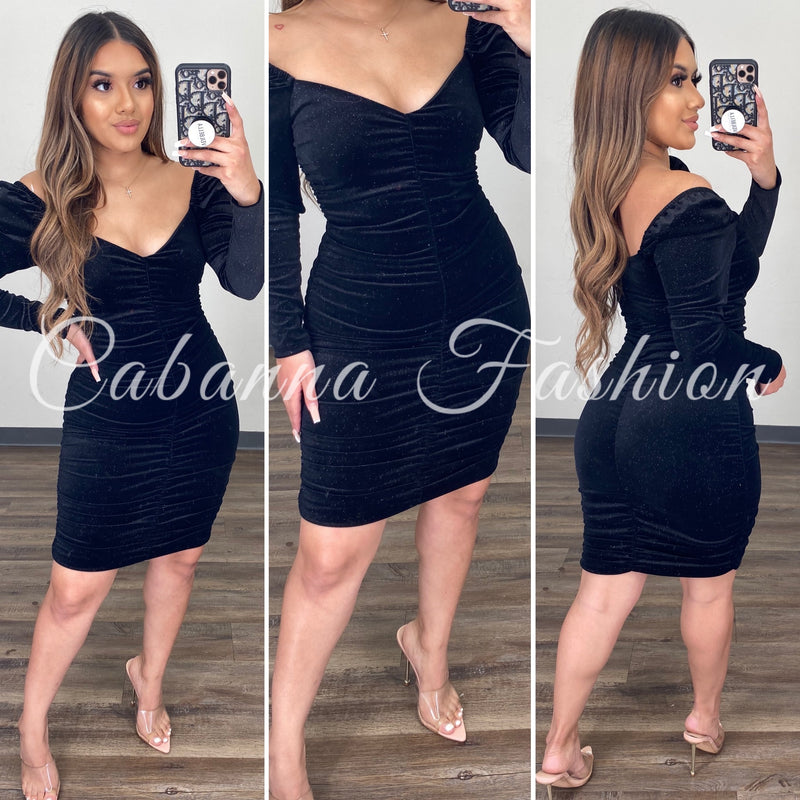 HOLIDAY BLISS DRESS - (BLACK)