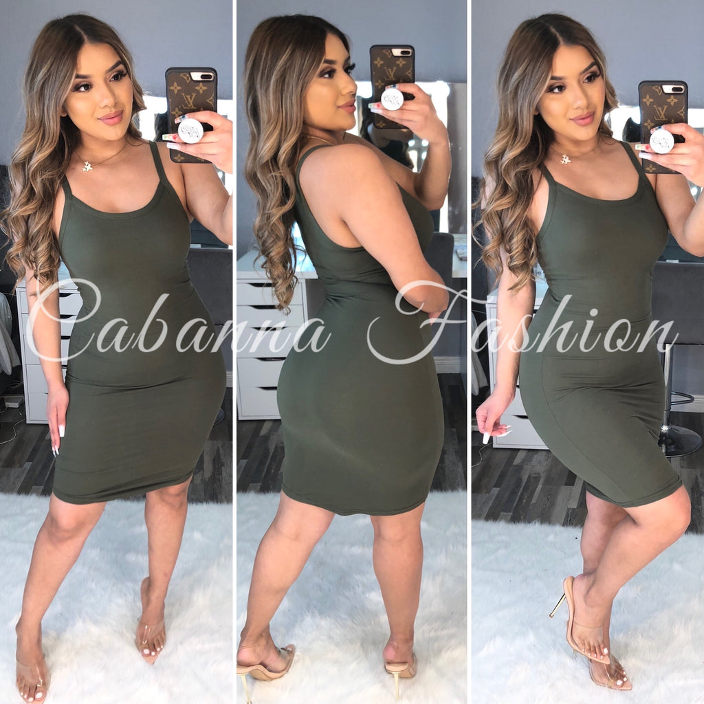 Casually Late Dress - (OLIVE)