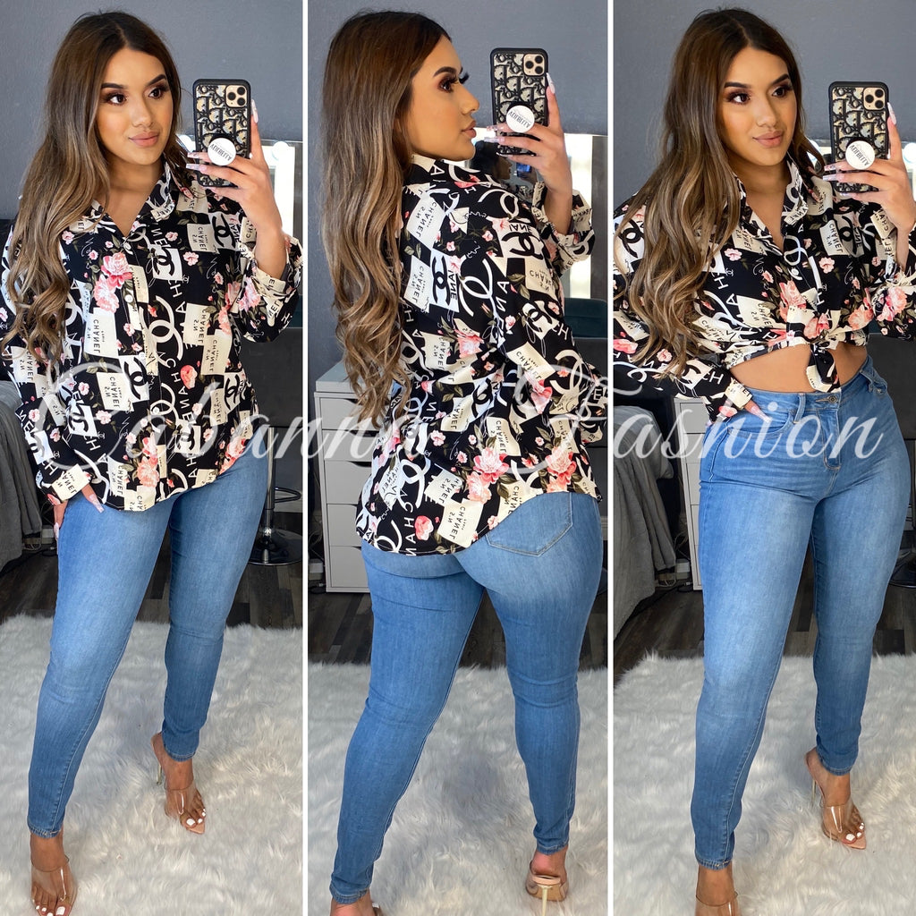 BLACK FLORAL CC BLOUSE