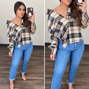 Change of Plaid Flannel - (TAUPE/BLACK)