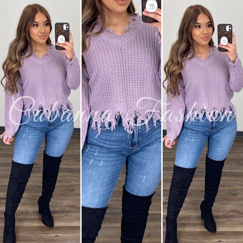 Distressed Mess Sweater Top - (LAVENDER)