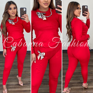 Betzy Pant Set - (RED)