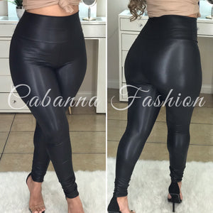 All Curves Faux Leather Leggings - (BLACK)