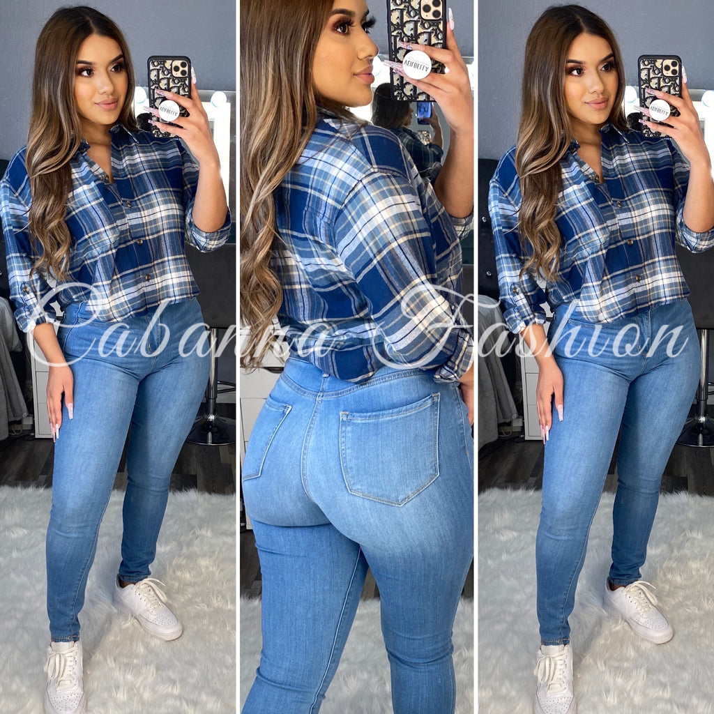September Short Plaid Top - (BLUE)