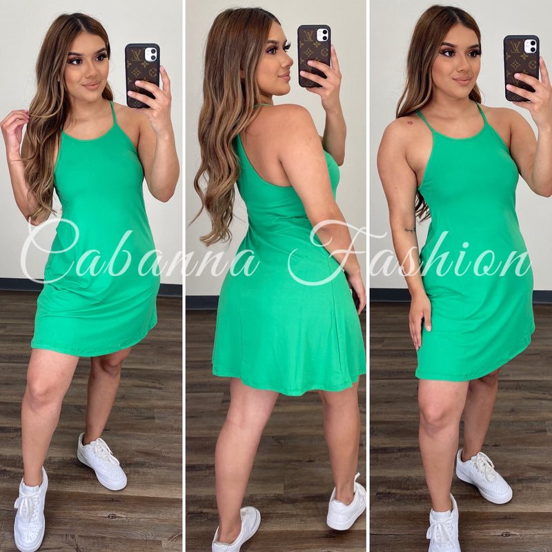Sammie Flare Dress - (KELLY GREEN)