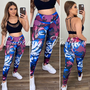Deyana Active Leggings - (PURPLE/ROYAL BLUE)