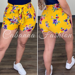 Mel Floral Shorts -  (YELLOW)
