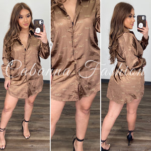 ROID SATIN BLOUSE - (BROWN)