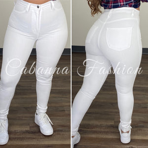 Perfect Fit High Waist Jeans - (WHITE)