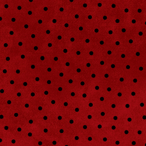 Red Woolies Flannel - Black Dot