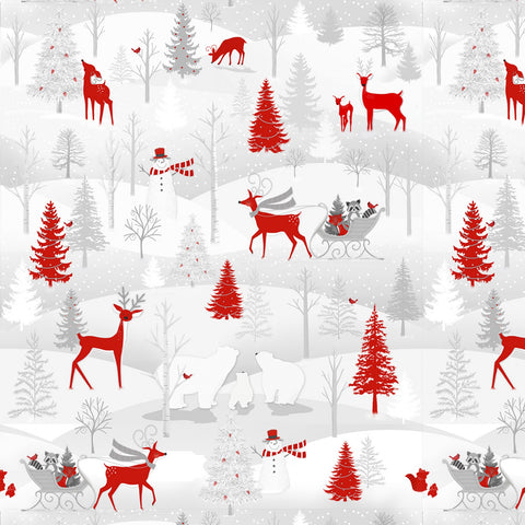 Grey & Red Winter Scene with Animals - Flannel