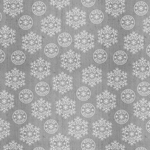 Grey Snowflake on Texture - Flannel