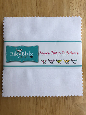 "Riley White Solids - 5"" Squares"