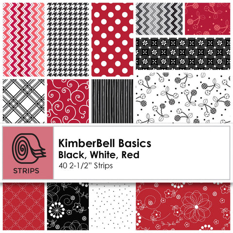 Kimberbell Basics (Black/White/Red) Fabric Roll