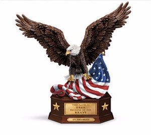 Patriotic | American Flag and Eagle Sculpture Military Figurine