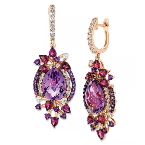 Le Vian's sweet drop earrings feature pear and round-cut amethyst (9-3/4 ct. t.w.), pear-cut rhodolite (2-1/2 ct. t.w.) and sparkling white topaz accents.