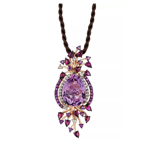 Feminine and floral. Le Vian's flourishing pendant features round and pear-cut amethyst (15-3/4 ct. t.w.), pear-cut rhodolite (1-3/4 ct. t.w.) and sparkling white topaz (3/4 ct. t.w.). This lovely pendant hangs from a brown silk cord.