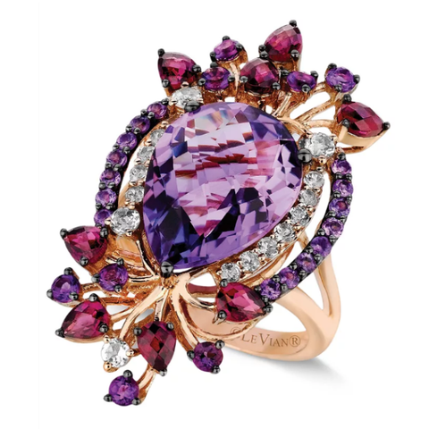 Flirty, feminine and completely flawless. Le Vian's stunning ring features round and pear-cut amethyst (7 ct. t.w.), pear-cut rhodolite (1 ct. t.w.) and sparkling white topaz accents in 14k rose gold.