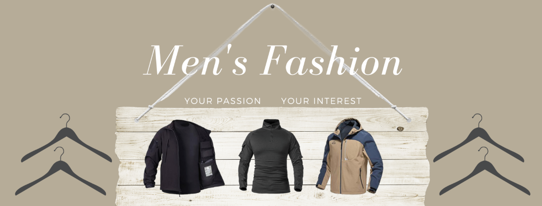 Men's fashion apparel including shirts, rain jackets, outer jackets, hats, short and more