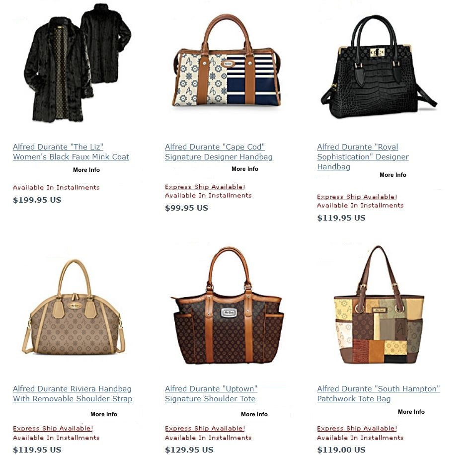 Women's purses and jackets