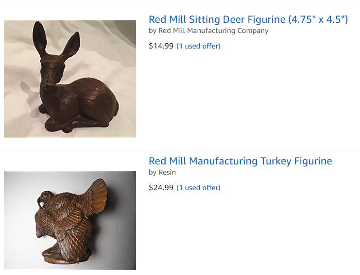 Deer and Turkey Red Mill Figurines