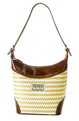 Fashion | Straw Brighton Style Purse with Faux Leather Handbag No. 100778