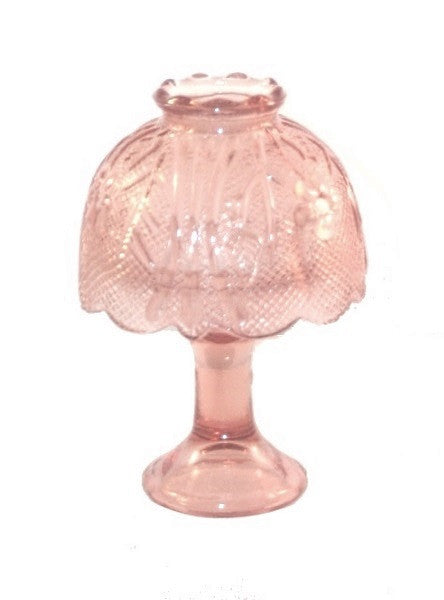 Art Glass | Pink Glass Candleholder with Shade  Antique Reproduction