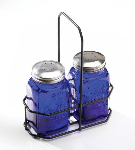 Art Glass Cobalt Blue Salt and Pepper Shakers Depression Glass