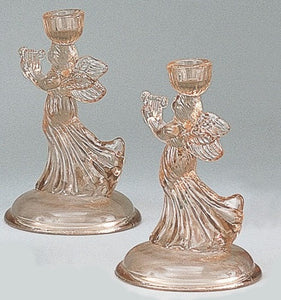 Art Glass | Pink Glass Angel Candlesticks  Antique Reproduction