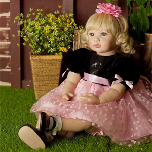Beautiful Simulation Baby Short Hair Girl Doll Wearing Pink Print Gauze