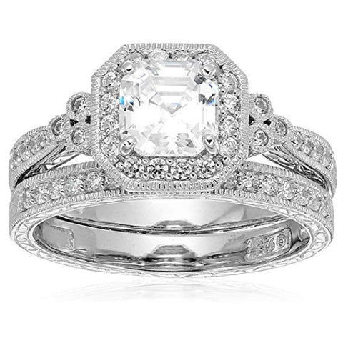 Sterling Silver Swarovski Zirconia Antique Ring Set
