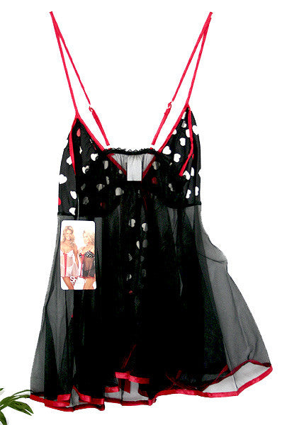 Lingerie | Black Babydoll with Hearts Size Medium