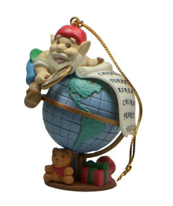 Holiday | Christmas Ornaments Santa Elf on Globe #3